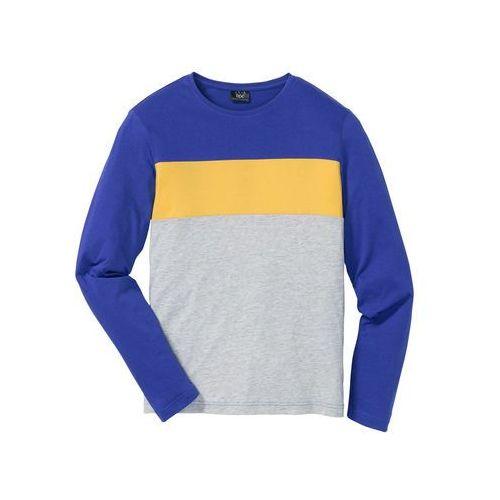 Bonprix Shirt z długim rękawem regular fit jasnoszary melanż - niebiesko-żółty