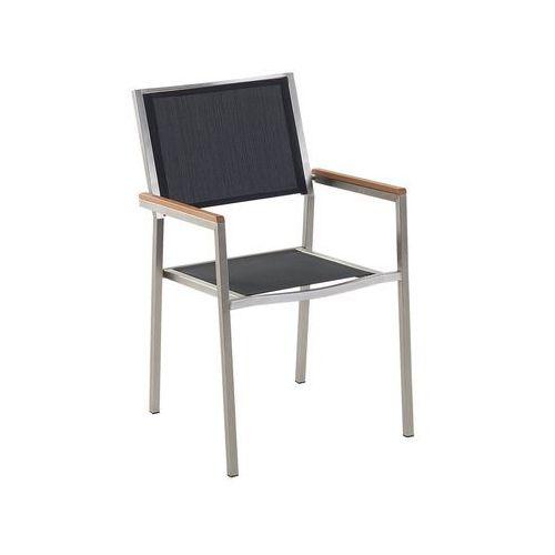 Meble ogrodowe czarne - krzesło ogrodowe - balkonowe - tarasowe - GROSSETO