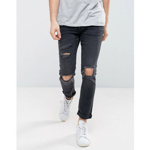 River island skinny jeans with rips in black wash - black