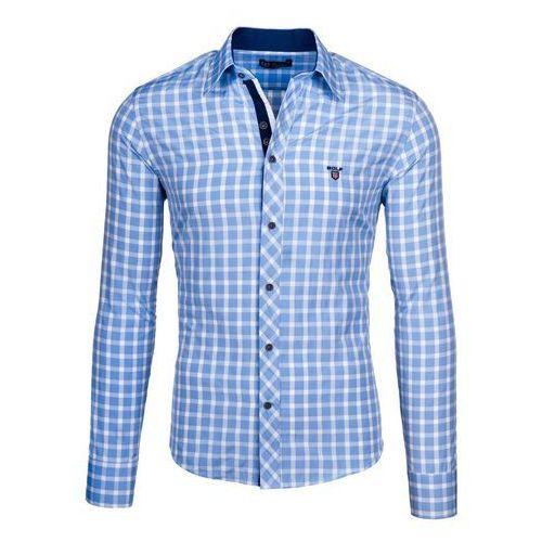 Błękitna koszula męska elegancka w kratę z długim rękawem Bolf 4747 - BŁĘKITNY