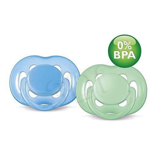 AVENT smoczek uspokajający sensitive, silikonowy, 6-18 miesięcy. Zielony Niebieski (8710103498117)