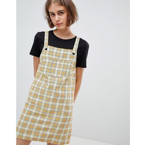 Monki Check Mini Dungarees Dress in Yellow - Yellow, kolor żółty