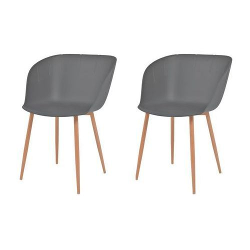 Vidaxl Komplet 2 krzeseł, szare, plastikowe siedziska i stalowe nogi