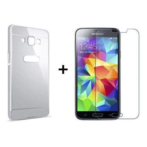 Zestaw | Mirror Bumper Metal Case Srebrny + Szkło ochronne Perfect Glass | Etui dla Samsung Galaxy Grand Prime