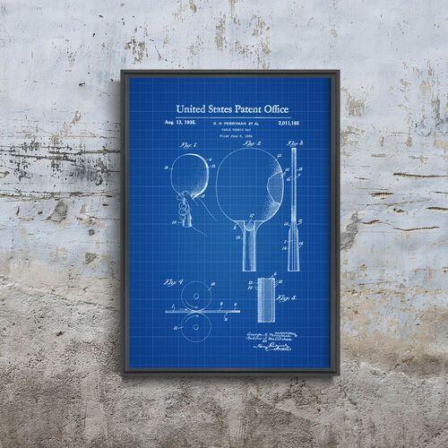 Plakat w stylu vintage Plakat w stylu vintage Patent na wiosło Ping Pong
