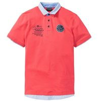 Shirt polo z podwójnym kołnierzykiem bonprix koralowy, w 5 rozmiarach