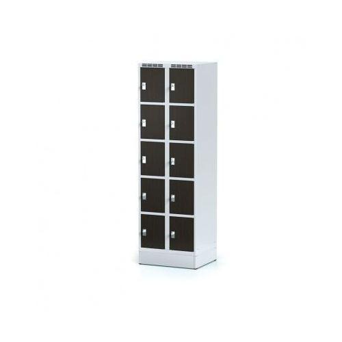 Szafka ubraniowa 10 drzwi 300x300 mm na cokole, drzwi LPW, wenge, zamek obrotowy