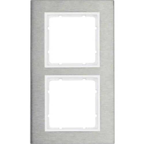 Berker b.7 ramka 2-krotna pionowa, stal szlachetna/biały mat 10123609