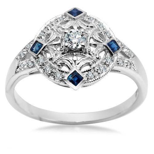 Royal diamonds - złoty pierścionek z diamentami i szafirami marki Biżuteria yes