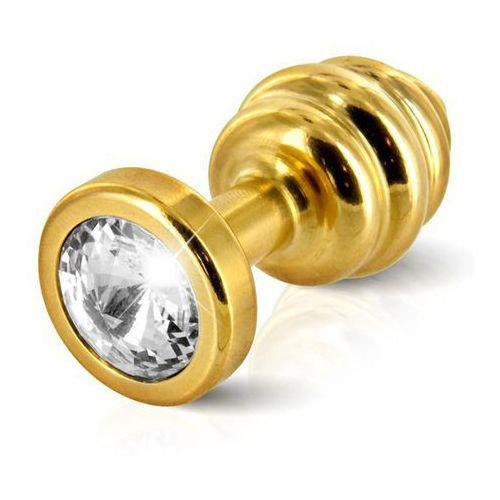 Diogol Plug analny zdobiony -  ano butt plug ribbed gold plated 30 mm złoty