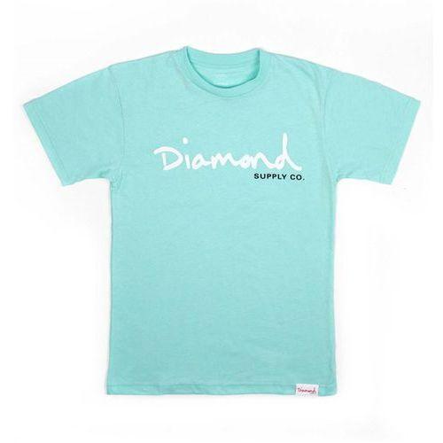 koszulka DIAMOND - Og Script Tee - Core Diamond Blue (DBLU) rozmiar: L, kolor niebieski