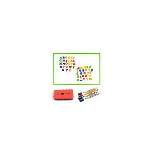 Zestaw - tablica magnetyczna 90x60 rama drewniana zielona + markery + gąbka + magnesy