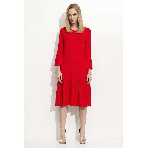 Czerwona Sukienka w Hiszpańskim Stylu z Wycięciem na Plecach, DF03re