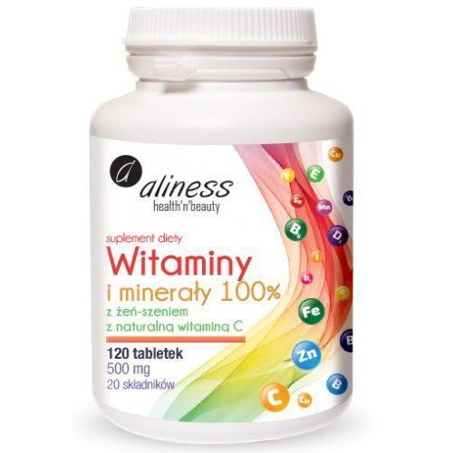 Tabletki Witaminy i minerały 100%, 120 tabletek Aliness