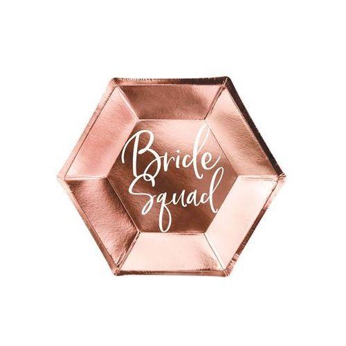 """Talerzyki papierowe """"Bride squad"""", różowe złoto, PartyDeco, 23 cm, 6 szt (5902230796522)"""