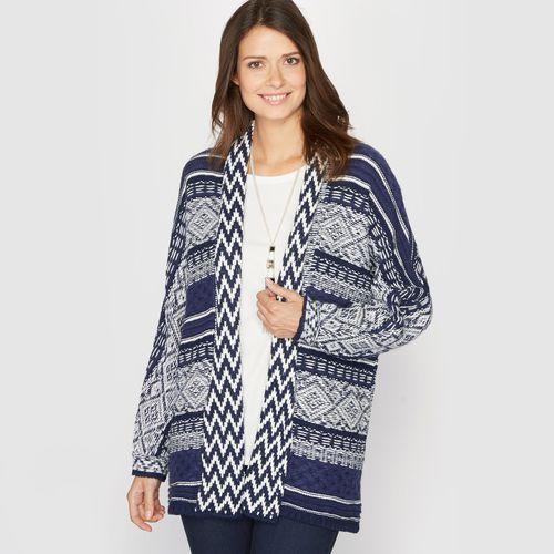 Długi rozpinany sweter z żakardowej dzianiny, sweter damski ANNE WEYBURN