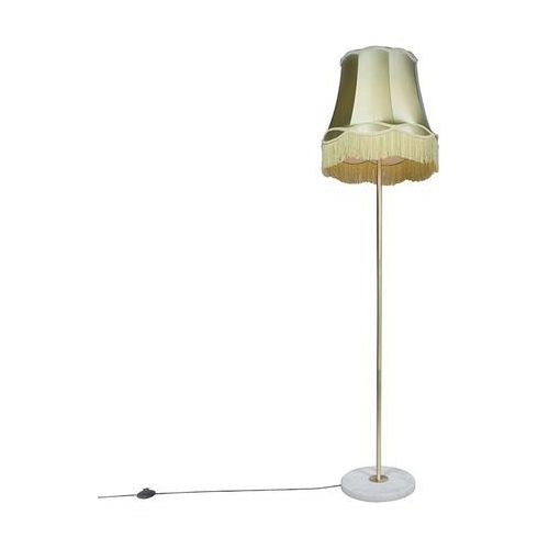Qazqa Lampa podłogowa retro mosiądz klosz zielony granny 45cm - kaso