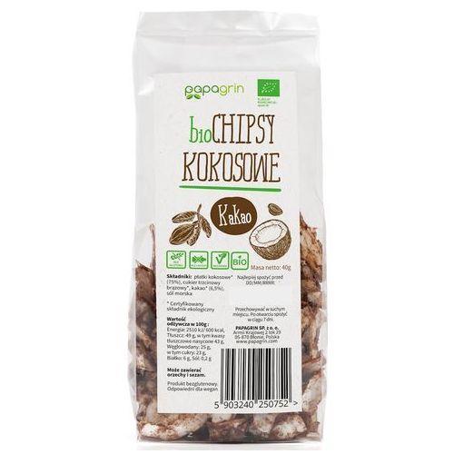 Papagrin (przekąski raw) Chipsy kokosowe z kakao bio 40 g - papagrin (5903240250752)