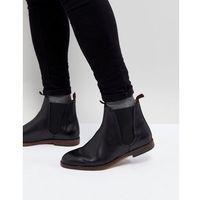H By Hudson Tamper Leather Chelsea Boots In Black - Black