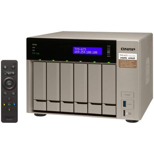 QNAP TVS-673-64G - AMD RX-421BD / 64 GB / 2 x HDMI / 4 x Gigabit LAN / 6-dyskowy