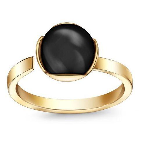 Berries – złoty pierścionek z onyksem, kolor żółty