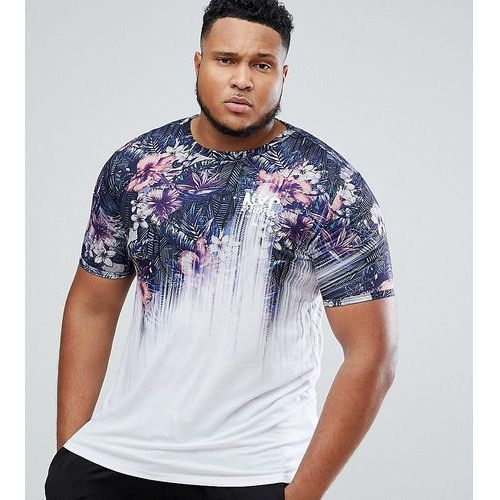 plus muscle fit t-shirt with floral fade print - blue, River island
