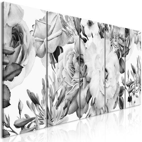 Obraz - różana kompozycja (5-częściowy) wąski czarno-biały marki Artgeist