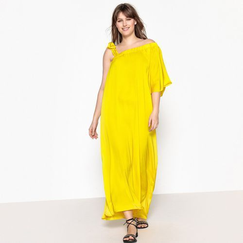Bardzo długa sukienka z cienkimi ramiączkami, rozkloszowana, rozkloszowana