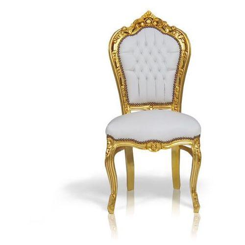 Stylowe, dekoracyjne krzesło z serii kair, złota, drewniana rama, obicie biała, ekologiczna skóra. marki Design by impresje24