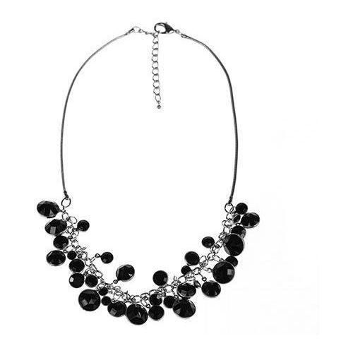 Krótki naszyjnik z czarnych okrągłych kryształków, kolor czarny