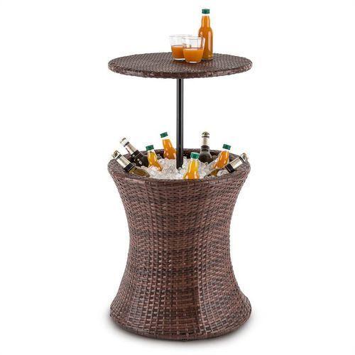 Blumfeldt beerboy stół ogrodowy chłodziarka na napoje Ø50cm polirattan bicolor brązowy