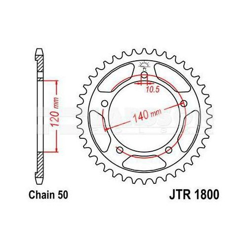 Zębatka tylna stalowa jt 1800-44, 44z, rozmiar 530 2301419 triumph sprint 955 marki Jt sprockets