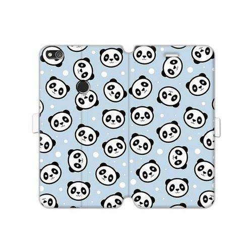 Huawei P8 Lite (2017) - etui na telefon Wallet Book Fantastic - panda na niebieskim tle