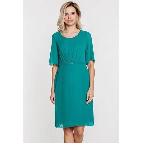 Zielona sukienka z marszczonym przodem -