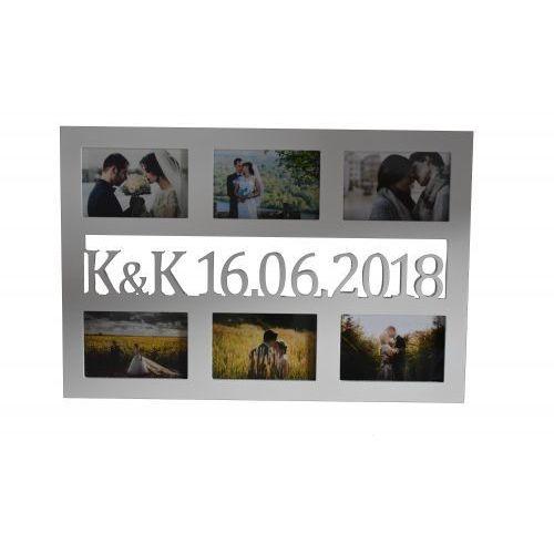 Wajdrew Multirama drewniana ramka na zdjęcia z inicjałami i datą ślubu