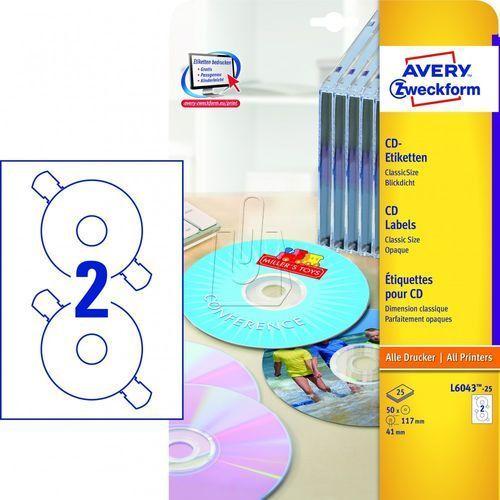 Avery zweckform Etykiety matowe białe classicsize na płyty cd/dvd ø 117mm 25 arkuszy avery zweck (4004182060438)