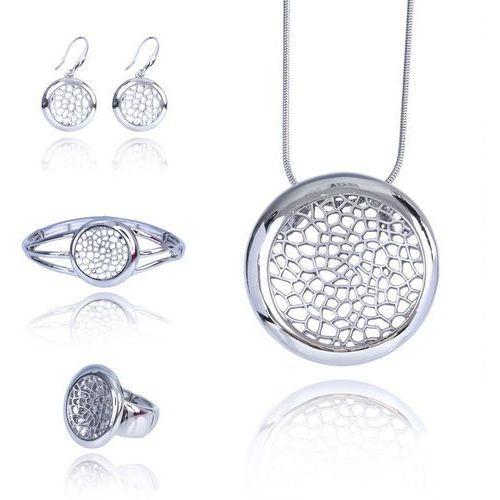 Komplet biżuterii z ażurową ozdobą srebrny: naszyjnik, bransoletka, kolczyki i pierścionek - srebrny, kolor szary