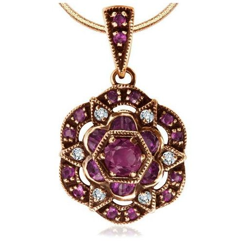 Biżuteria yes Kolekcja wiktoriańska - złota zawieszka z diamentami i rubinami