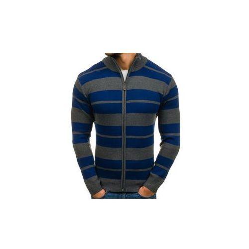 Sweter męski rozpinany grafitowo-niebieski denley bm6065 marki S-west