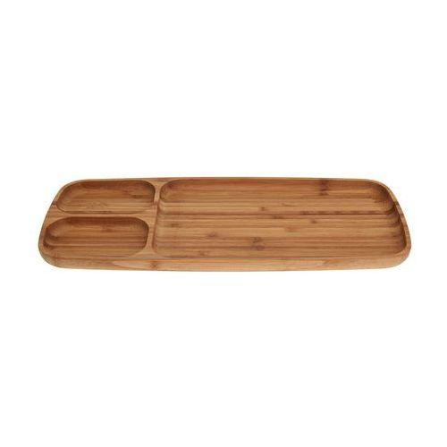 Eh excellent houseware Bambusowa taca na przekąski, podłużna patera - 3 przegrody