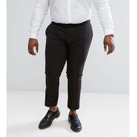 Asos plus super skinny cropped smart trousers in black - black