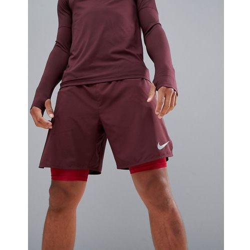 distance 2-in-1 7 inch shorts in burgundy 892905-653 - purple marki Nike running