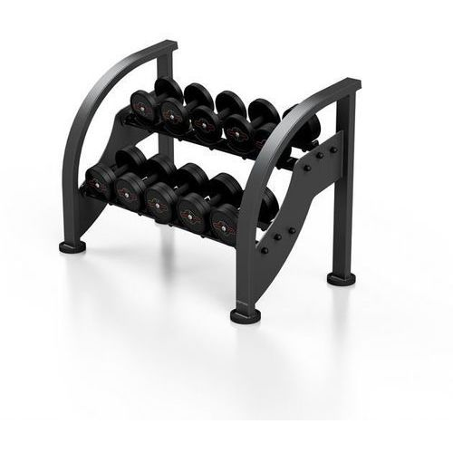 Zestaw hantli stalowych gumowanych 5 - 15 kg ze stojakiem Marbo Sport - czarny