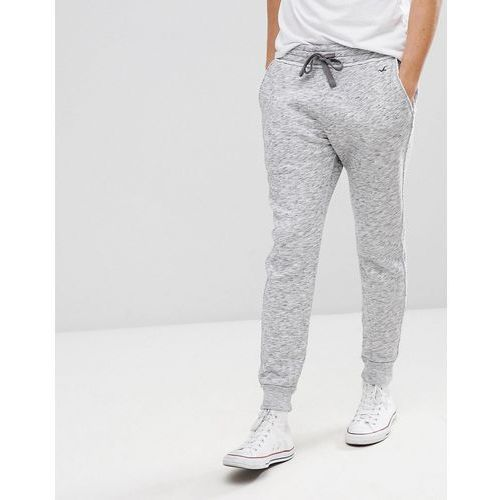 icon logo fleece cuffed jogger in white/black printed texture - white, Hollister, M-L