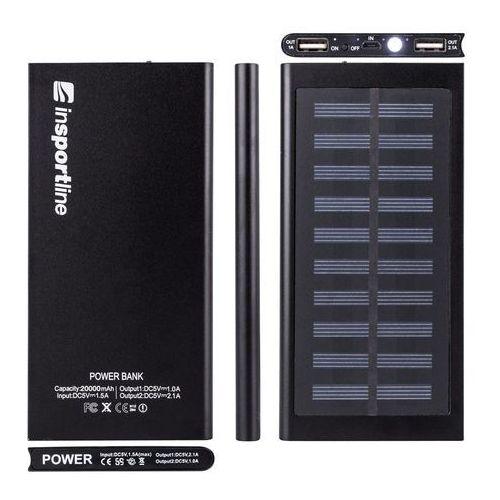 Insportline Powerbank z panelem słonecznym 20 000 mah inergymo led