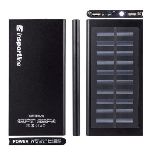 Insportline Powerbank z panelem słonecznym 20 000 mah inergymo led - 2 jakość