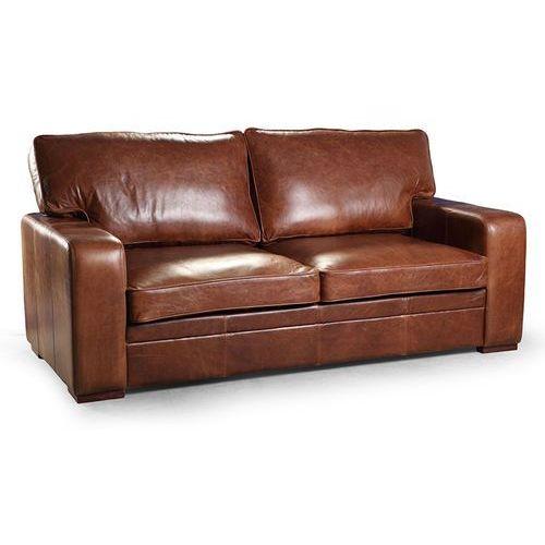 Sofa, kanapa Estelia Buffo, 3os., naturalna skóra, tkanina