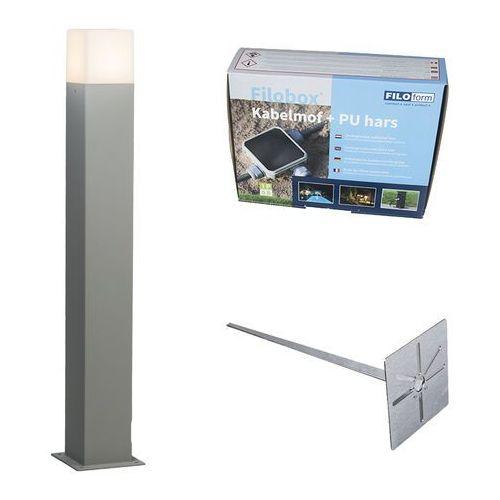 Lampa zewnętrzna denmark p70 szara z klinem ziemnym i mufą kablową marki Qazqa