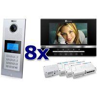 Zestaw wideodomofonowy 8 rodzinny Panel C5 C9E21L-C, 8x Monitor C5 V13, Akcesoria