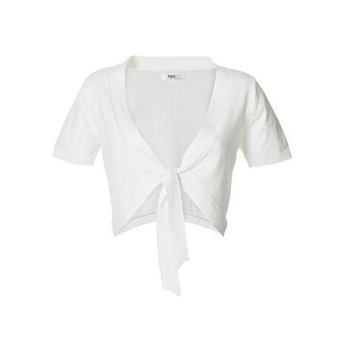 Bolerko z krótkim rękawem bonprix biały, bawełna